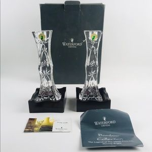 "Pair 2 Waterford Crystal 8"" Bamboo Candlesticks"